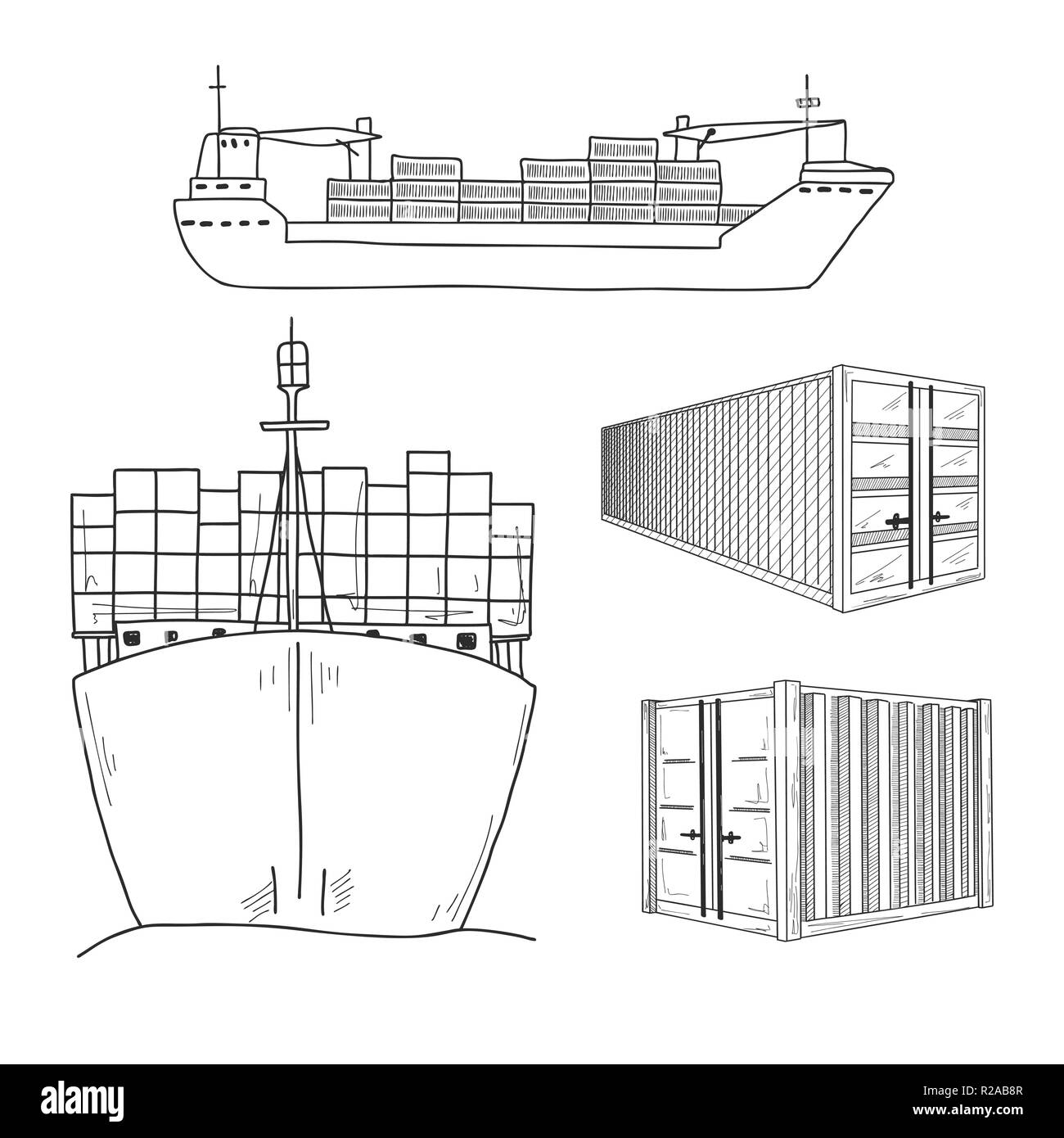 hight resolution of sketch various containers and cargo ships hand drawn vector set stock image