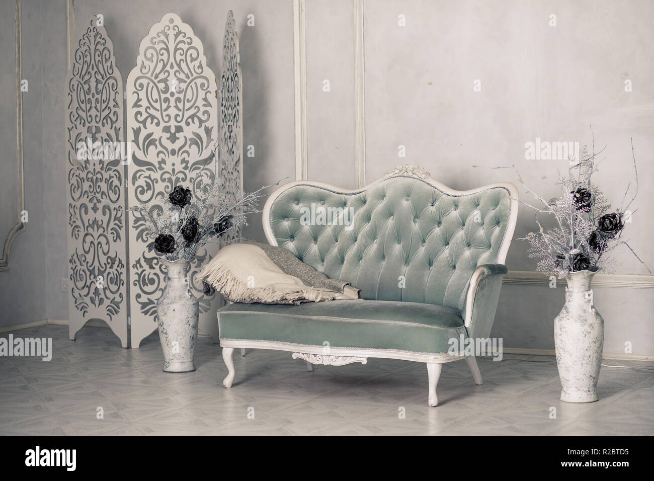 living room floor vases decorative things for interior with vintage furniture retro beautiful grey sofa white livingroom large antique flowers pillows and blanket