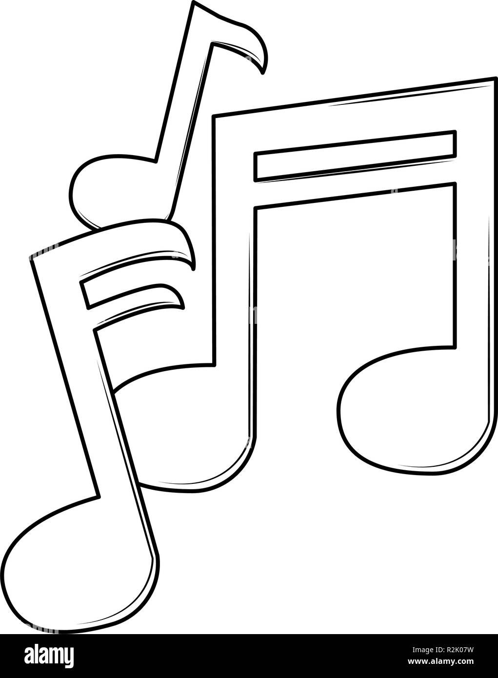 Cartoon Notes : cartoon, notes, Music, Notes, Cartoon, Black, White, Vector, Illustration, Graphic, Design, Stock, Image, Alamy