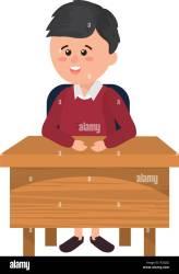 elementary school student boy on the desk cartoon vector illustration graphic design Stock Vector Image & Art Alamy