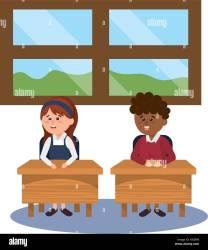 elementary school student boy on desk with girl cartoon vector illustration graphic design Stock Vector Image & Art Alamy