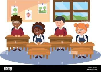 elementary school students on desk cartoon vector illustration graphic design Stock Vector Image & Art Alamy