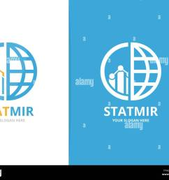 vector graph and planet logo combination diagram and world symbol or icon unique chart and globe logotype design template  [ 1300 x 1081 Pixel ]