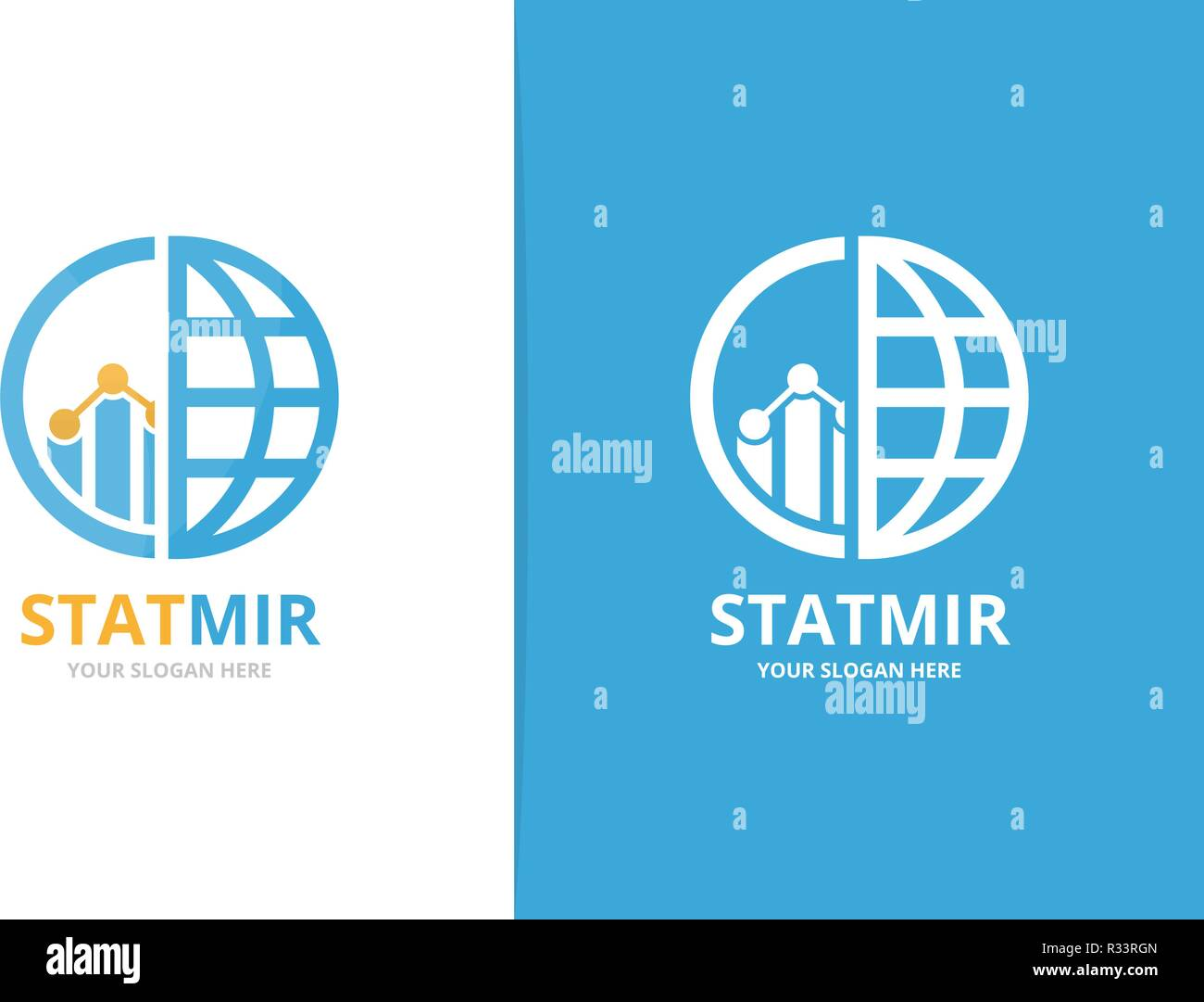 hight resolution of vector graph and planet logo combination diagram and world symbol or icon unique chart and globe logotype design template