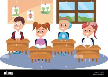 elementary school students in the classroom cartoon vector illustration graphic design Stock Vector Image & Art Alamy