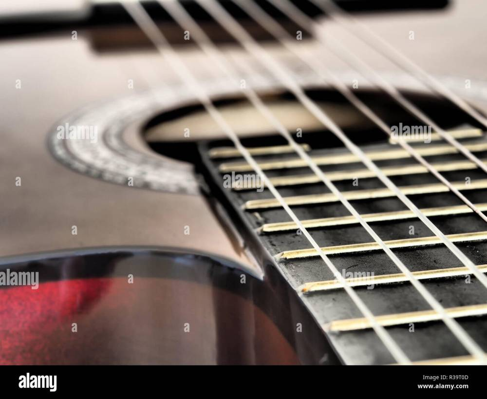 medium resolution of close up brown wooden classical guitar and guitar wires