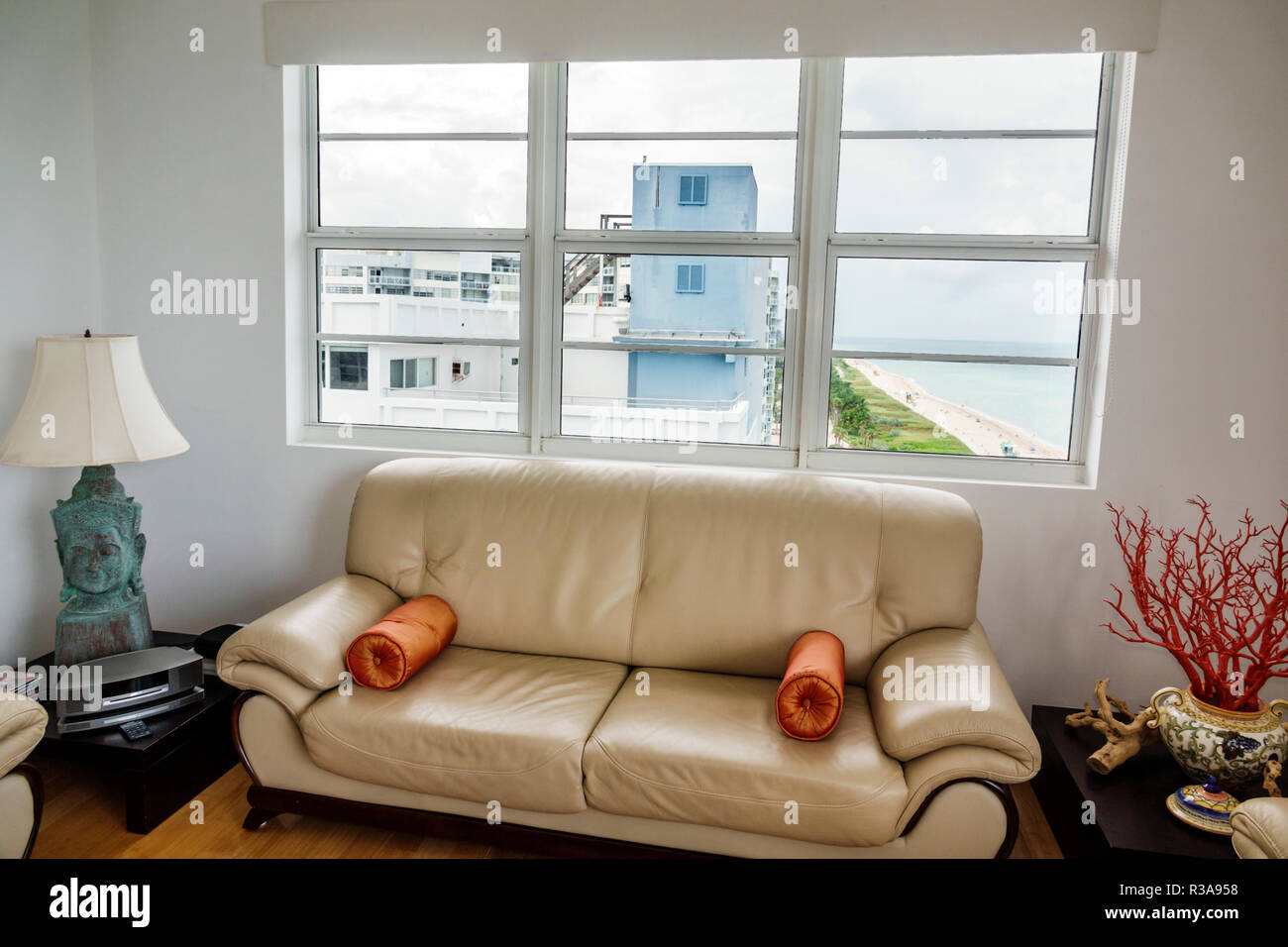florida living room furniture vintage style miami beach north collins condominium condo unattractive window view sofa