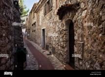 French Village Houses Cobblestone Stock &