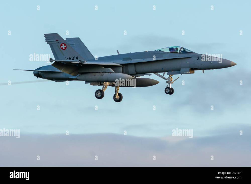medium resolution of swiss airforce f18 hornet stock image