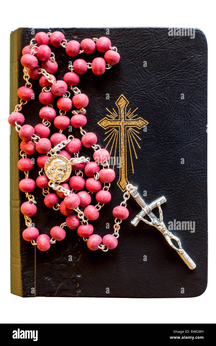 hight resolution of the bible with rosary stock image