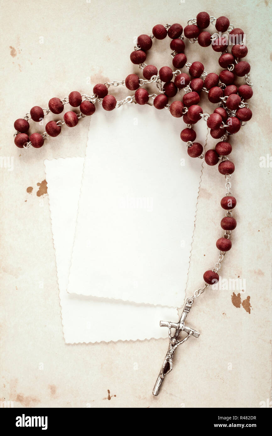 hight resolution of rosary and blank cards stock image