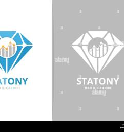 vector diamond and graph logo combination jewelry and diagram symbol or icon unique gem and chart logotype design template  [ 1300 x 1058 Pixel ]