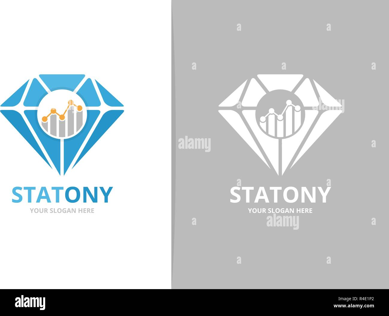 hight resolution of vector diamond and graph logo combination jewelry and diagram symbol or icon unique gem and chart logotype design template