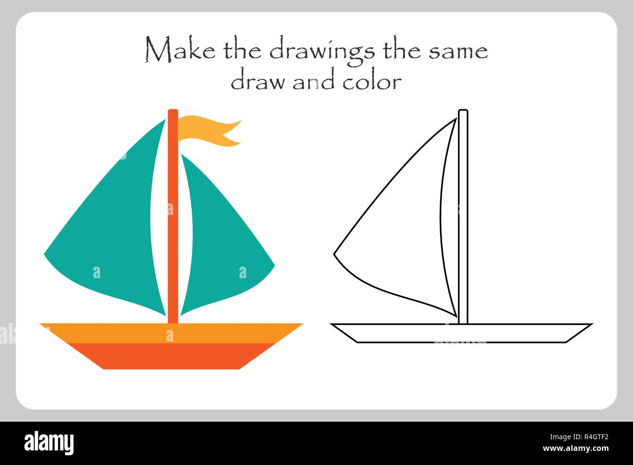 Ship In Cartoon Style Make The Drawings The Same Coloring