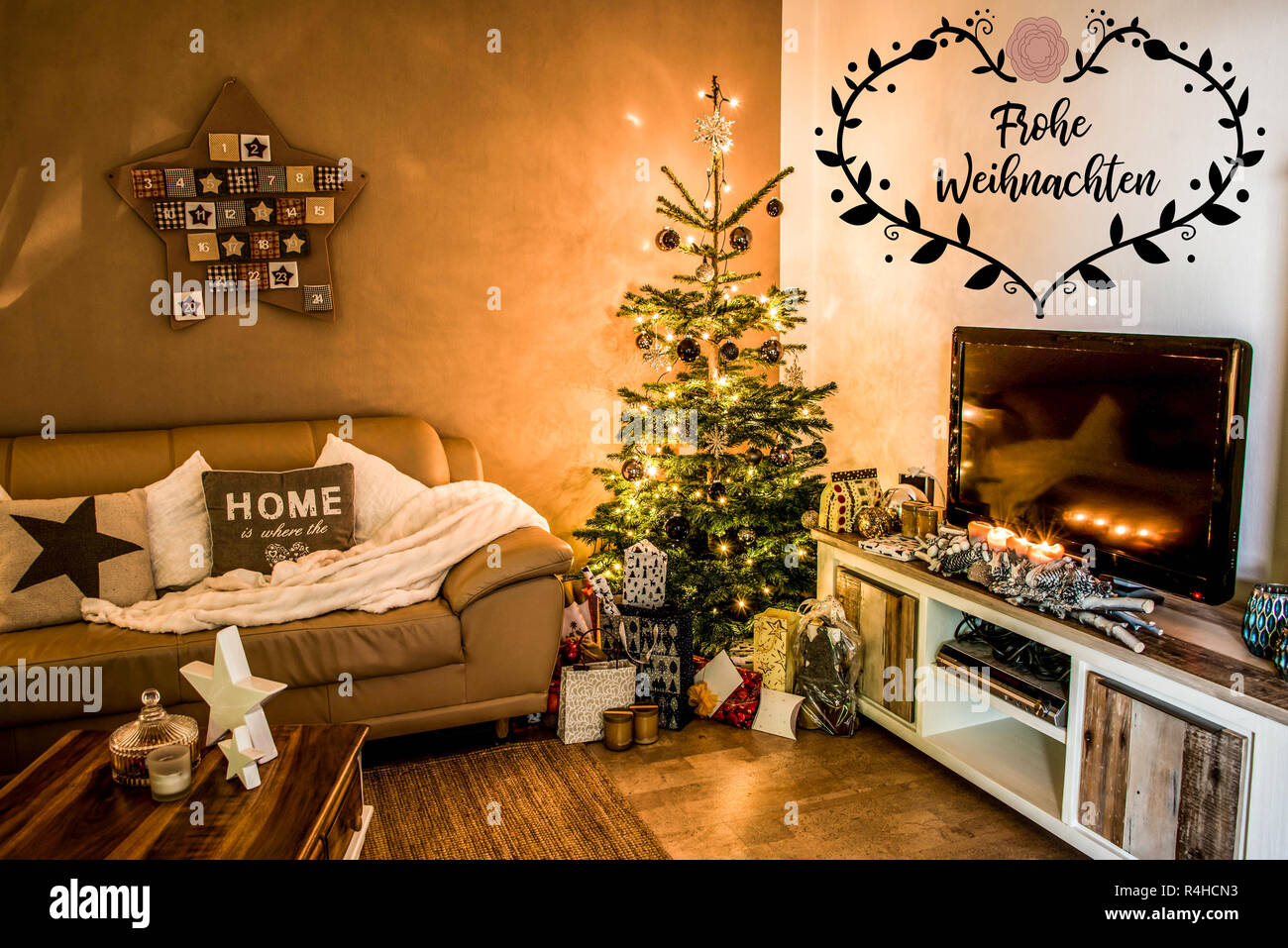 beautiful living rooms at christmas red and brown room decorating ideas merry tree setup aith gifts decorated for happy holidays home textspace saying in german