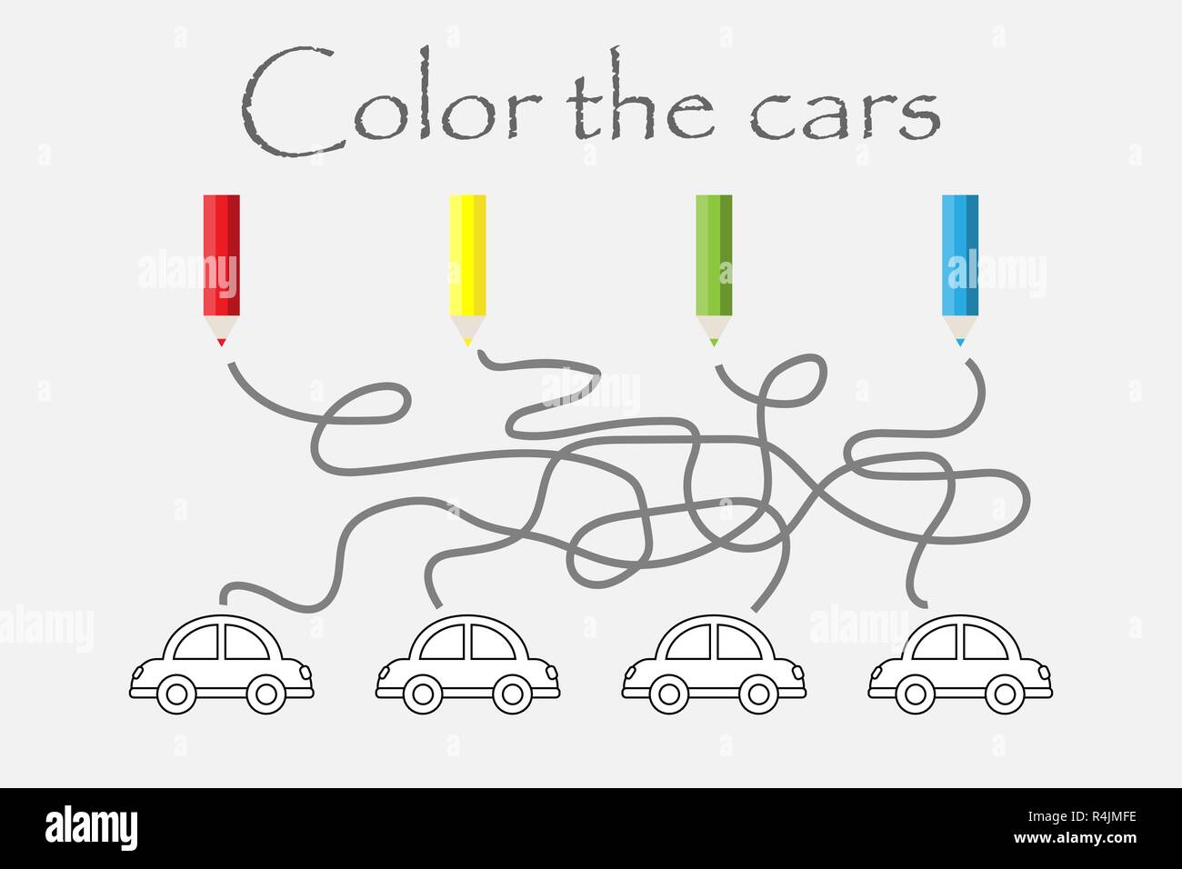 Labyrinth Game Maze And Coloring The Cars Preschool