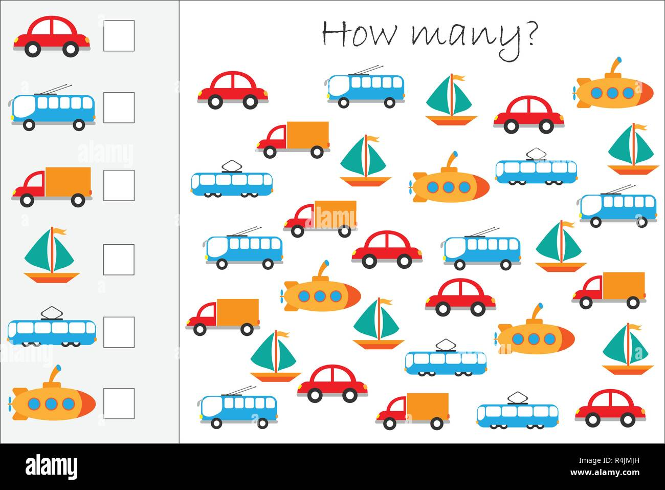 Transportation Worksheet For Kindergarten Addition