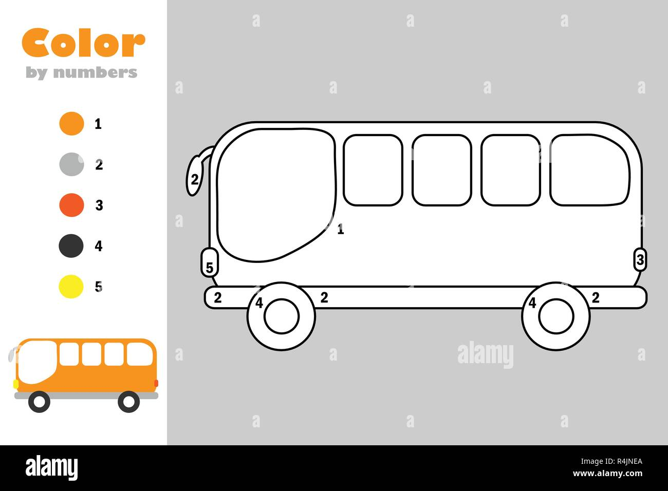 Bus In Cartoon Style Color By Number Education Paper