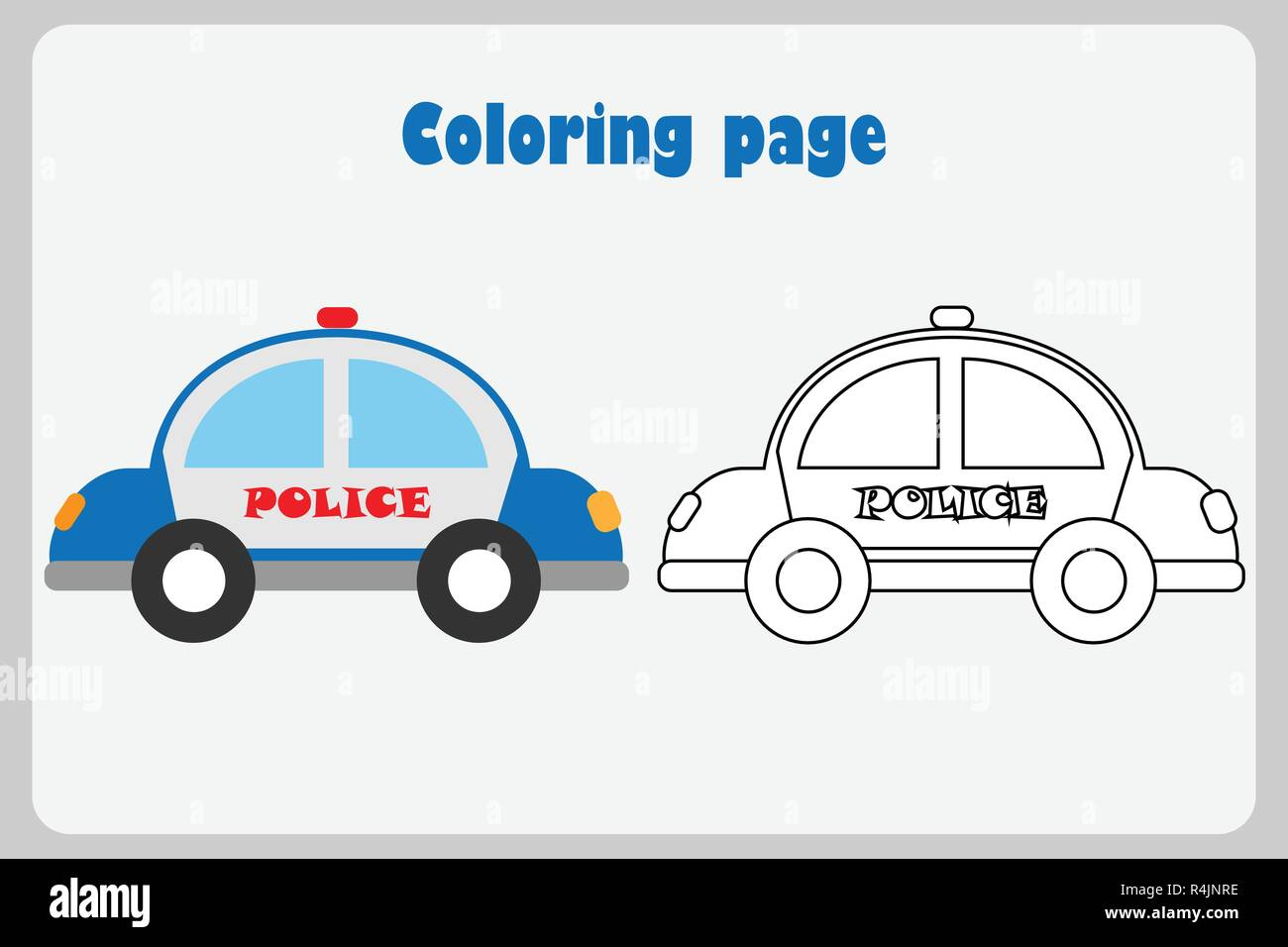 Police Car In Cartoon Style Coloring Page Education