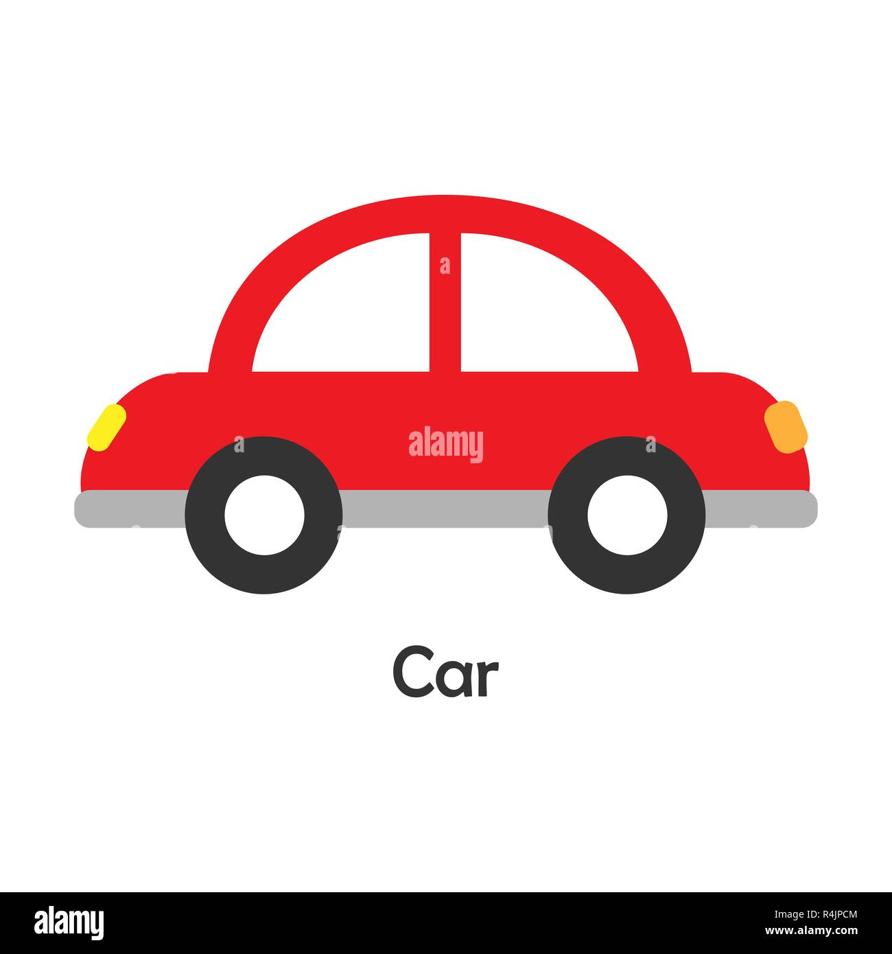 Car In Cartoon Style Card With Transport For Kid