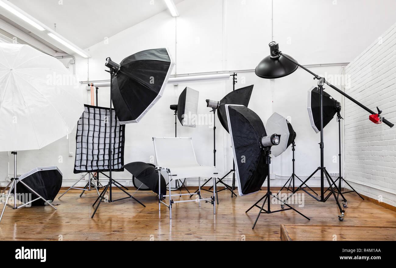https www alamy com professional photo studio with lighting equipment light stands softbox studio flash umbrellas image226633522 html