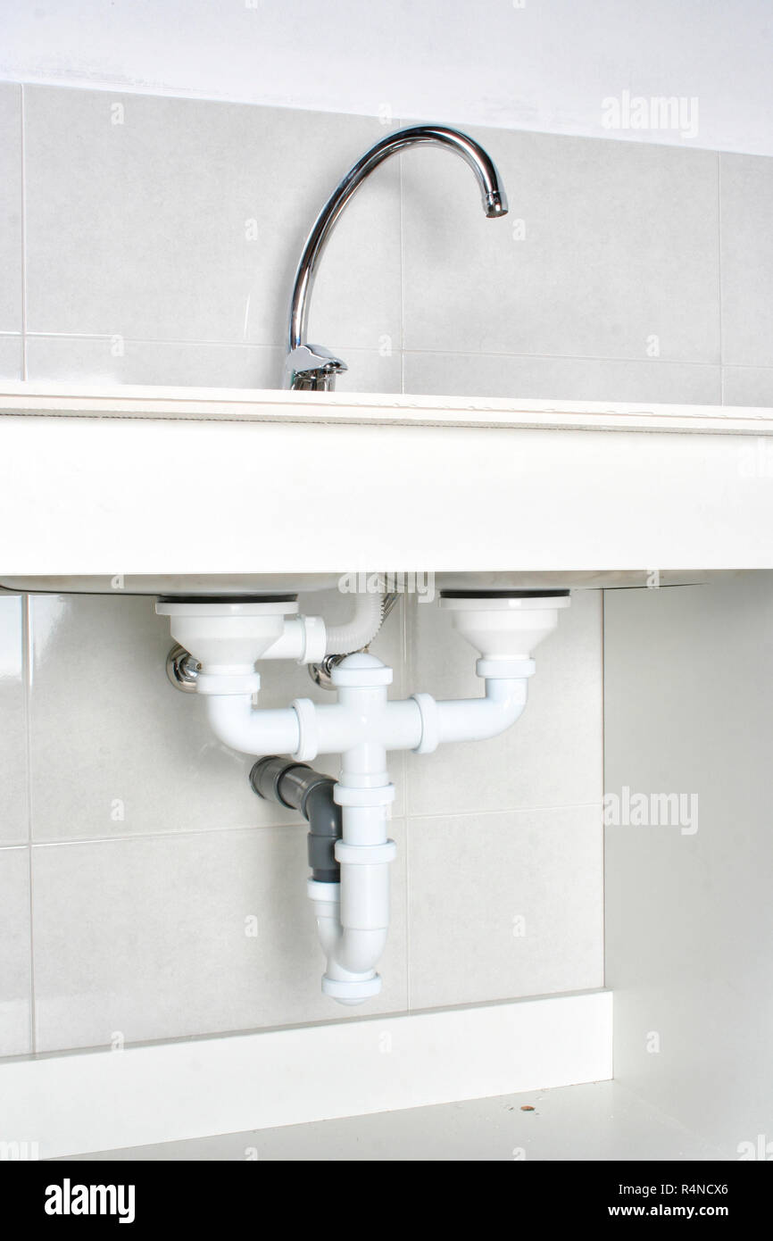 https www alamy com view of the drain pipes of a kitchen sink after correct installation image226664542 html