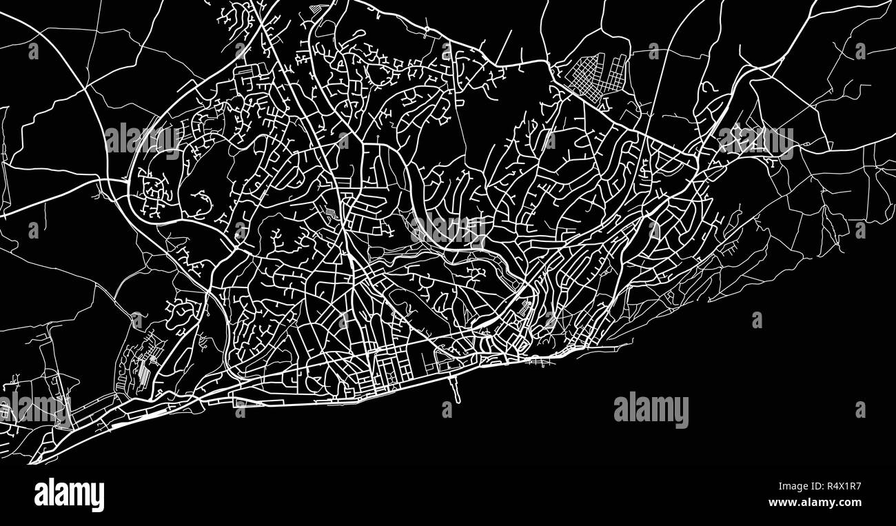 hight resolution of urban vector city map of hastings england stock image