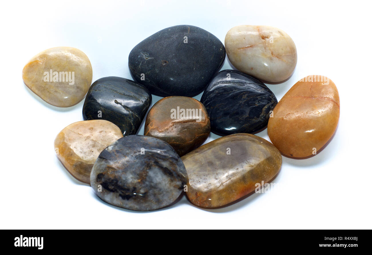 Polished Black River Rocks Stock Photos  Polished Black