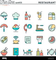 restaurant phone ordering meal receipt and more thin line color icons set [ 1295 x 1390 Pixel ]