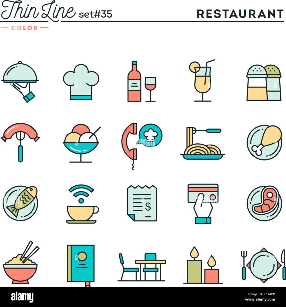 medium resolution of restaurant phone ordering meal receipt and more thin line color icons set