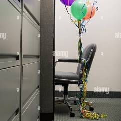 Chair With Balloons Womb Replica Empty Office Tied To It Stock Photo 226938992