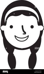 happy young girl face character vector illustration monochrome Stock Vector Image & Art Alamy