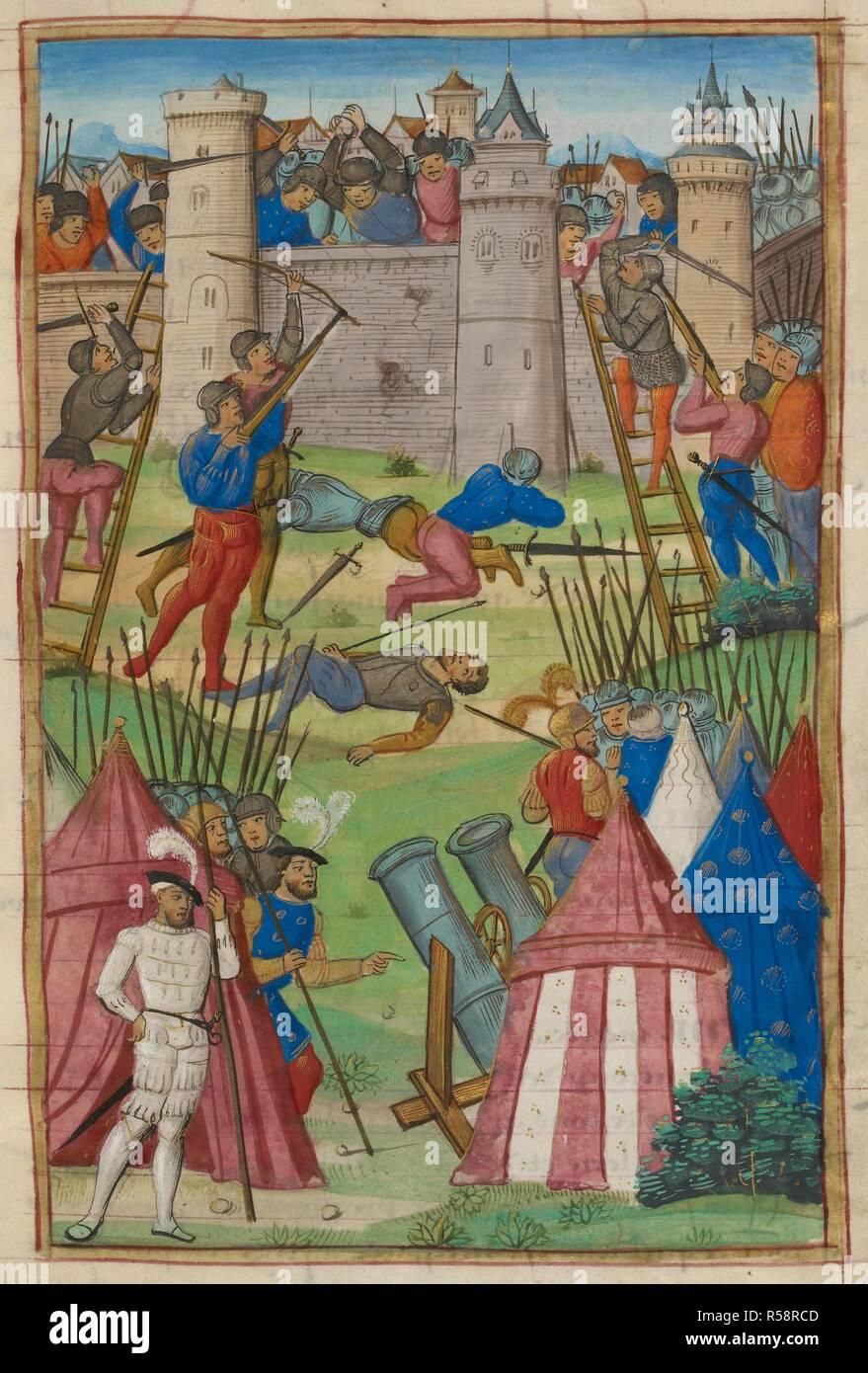 Siege Ladder : siege, ladder, Medieval, Siege, Scene., Ladders, Artillery, Being, Used., TREATISE, Military, Discipline,, French,, Beginning,