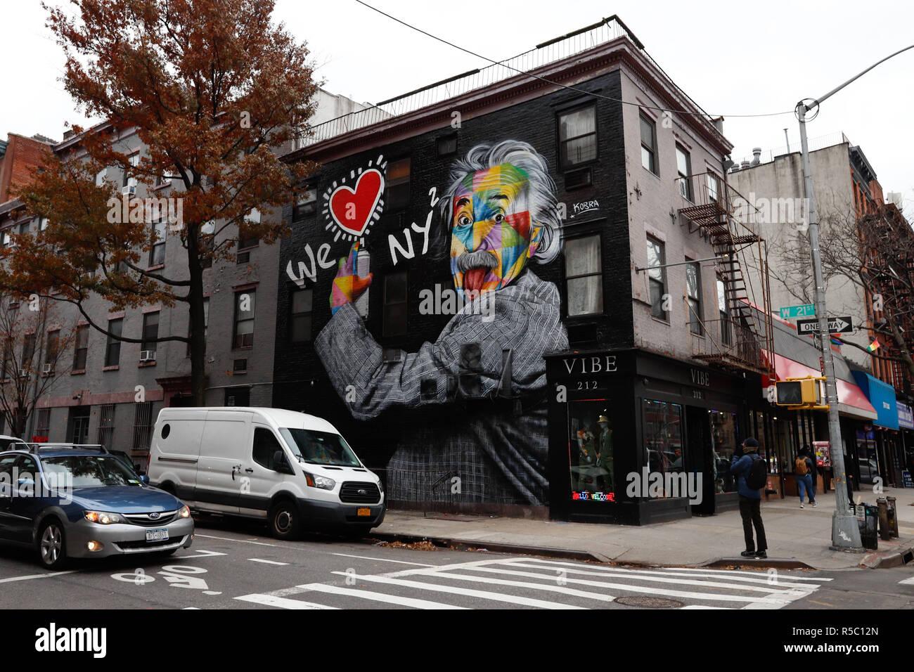 new york, oficiálně city of new york, v běžném užívání i new york city, je nejlidnatější město spojených států amerických.nachází se v jižním výběžku státu new york, při ústí řeky hudson do atlantského oceánu.je centrem metropolitní oblasti, která zasahuje i do sousedních států a která patří mezi nejlidnatější na světě. Mural Of We Love New York With Albert Einstein S Portrait Is Seen In Manhattan New York Artwork By Brazilian Muralist Eduardo Kobra Photo Vanessa C Stock Photo Alamy
