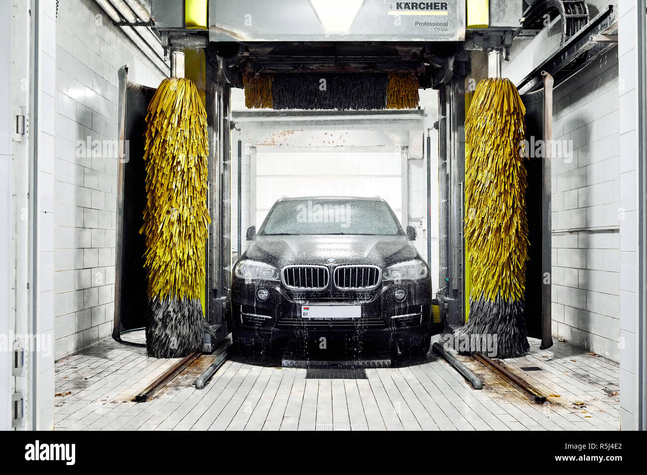 hight resolution of moscow russia 09 06 2018 black bmw in car wash