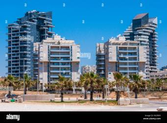 Ashdod Israel May 08 2012: New built urban area on the beach of Ashdod Israel panorama Contemporary architecture style of new built and very expe Stock Photo Alamy
