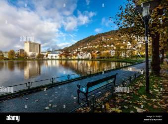 Autumn in Bergen Norway Lille Lungegaardsvannet lake and