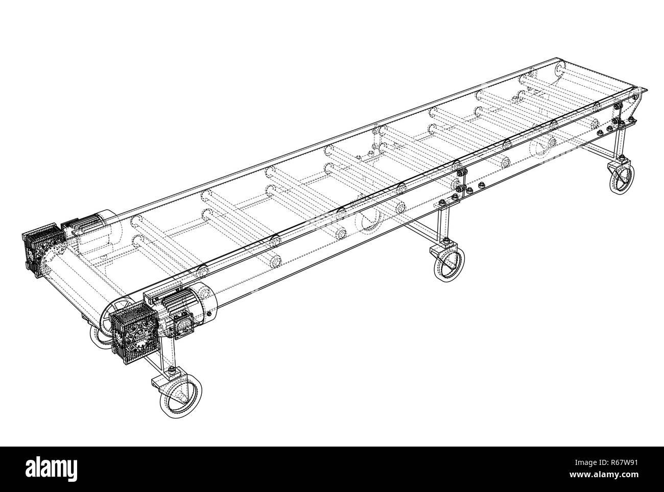hight resolution of 3d outline conveyor belt 3d illustration wire frame style