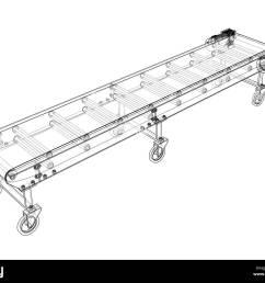 3d outline conveyor belt 3d illustration wire frame style [ 1300 x 1089 Pixel ]