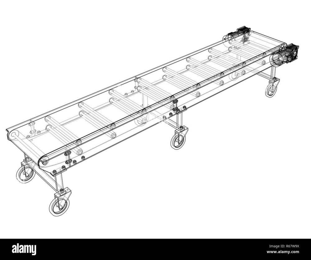 medium resolution of 3d outline conveyor belt 3d illustration wire frame style