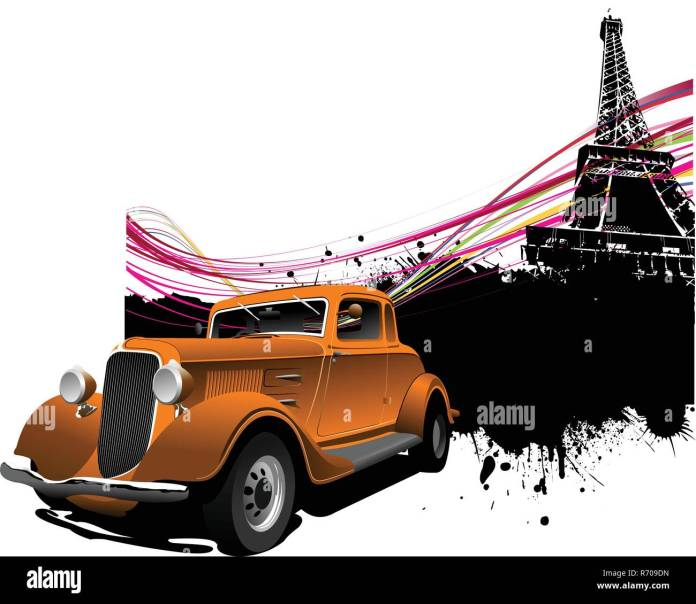 Paris Image Background With More Than 50 Years Old Vintage Car Vector Illustration Stock Vector Image Art Alamy
