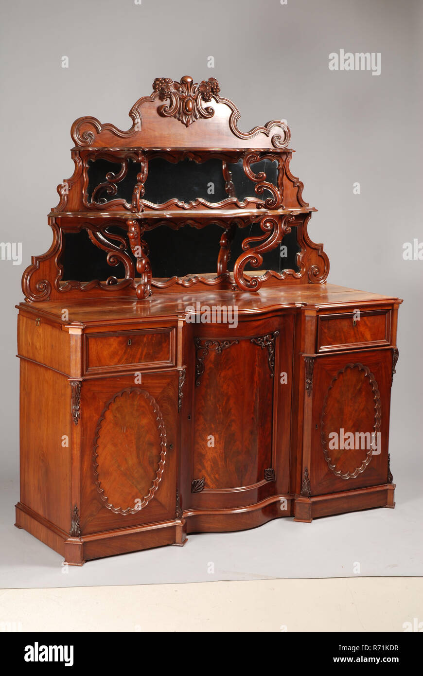 Neo Rococo Dining Room Buffet Sideboard Cupboard Cabinet Furniture Furniture Interior Design Wood Mahogany Oak Wood Brass Glass Neo Rococo Dining Room Buffet With Upright With Two Shelves Supported By Volutes Back Wall With