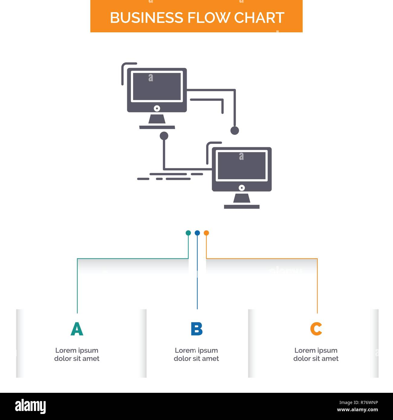 hight resolution of local lan connection sync computer business flow chart design with 3 steps glyph icon for presentation background template place for text