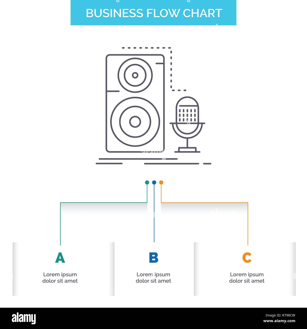 hight resolution of live mic microphone record sound business flow chart design with 3 steps