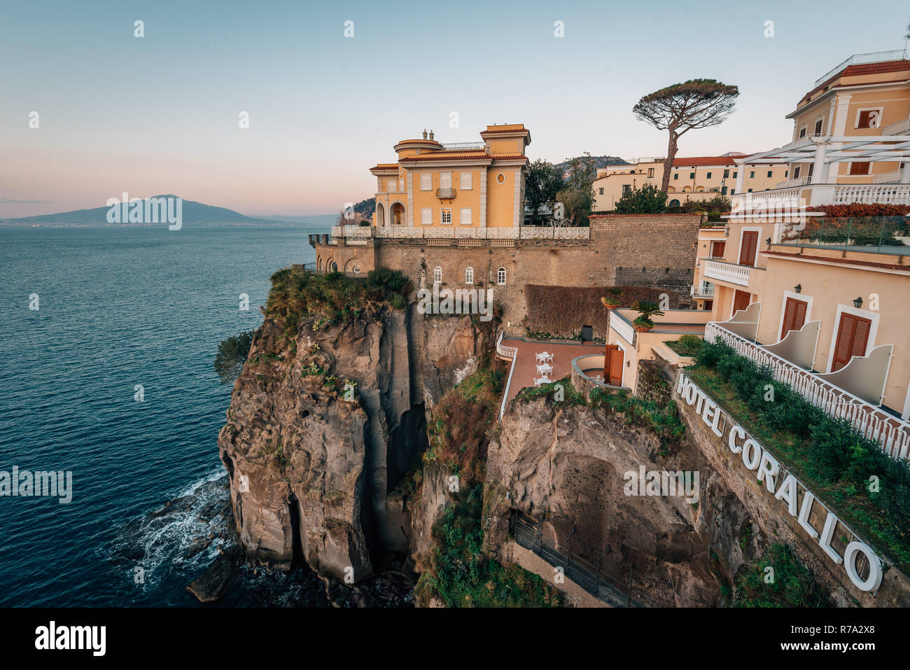 The Hotel Corallo And Cliffs At Sunset In Sorrento