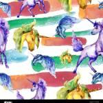 Cute Unicorn Watercolor Illustration Watercolour Drawing Seamless Background Pattern Fabric Wallpaper Print Texture Stock Photo Alamy