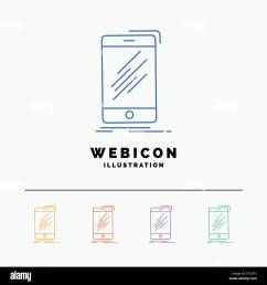 device mobile phone smartphone telephone 5 color line web icon template isolated on white vector illustration [ 1300 x 1390 Pixel ]