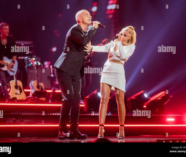 Dusseldorf Exclusive Helene Fischer And Eros Ramazzotti Italian Singers Are On The Stage At The Recording Of The Helene Fischer Show
