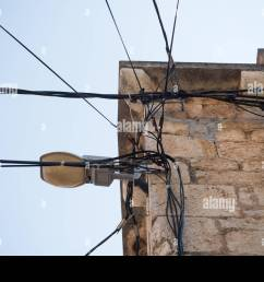 electric wires attached on an old stone house old architecture electricity transmission light [ 1300 x 957 Pixel ]