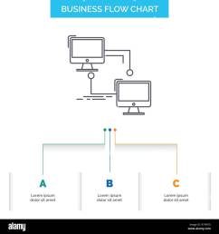 local lan connection sync computer business flow chart design with 3 steps line icon for presentation background template place for text [ 1300 x 1390 Pixel ]